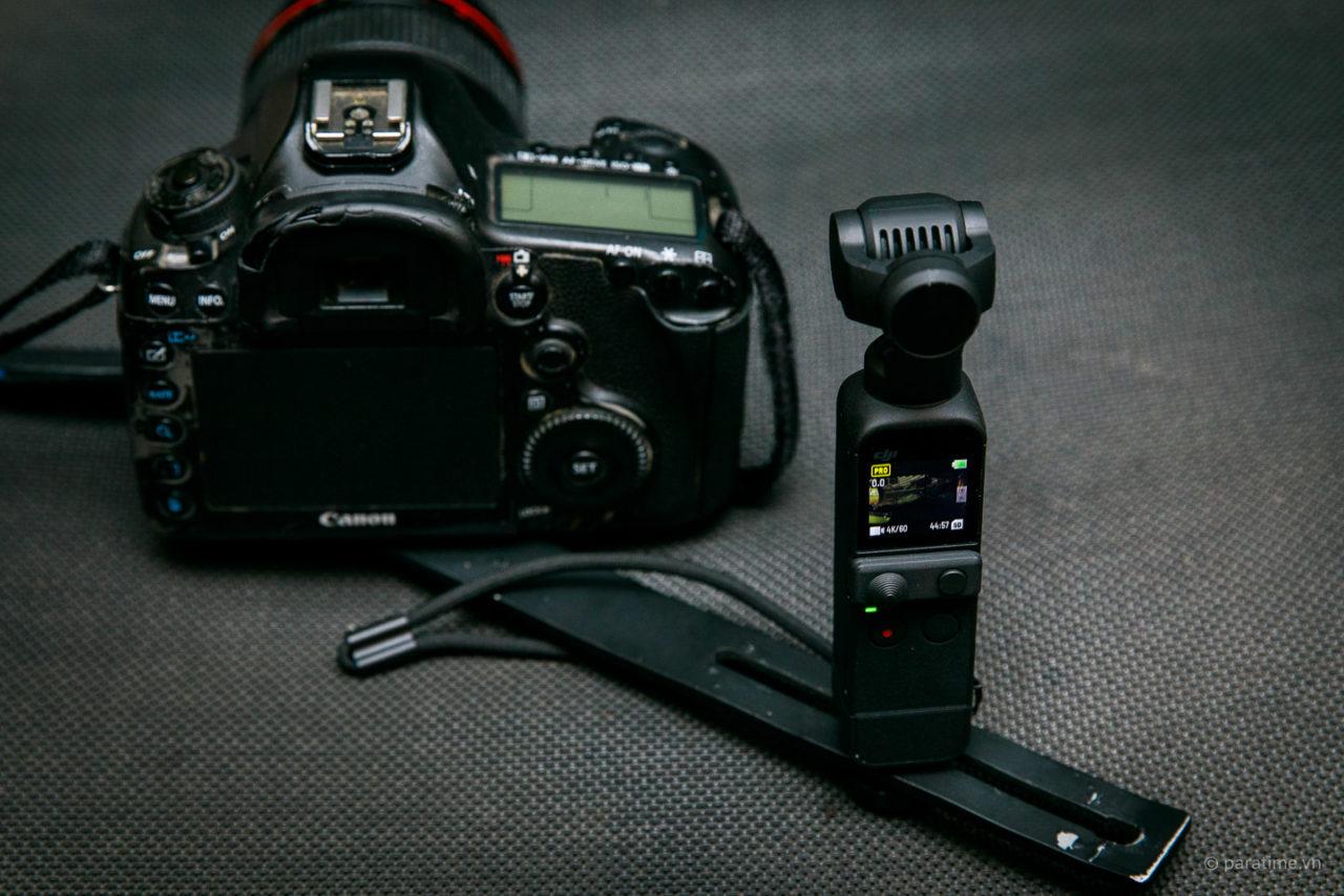 DJI Pocket 2 được lắp để quay từ góc nhìn người chụp